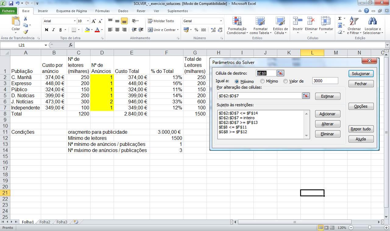 excel - função solver (programação linear)